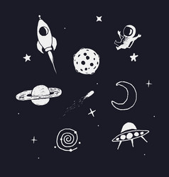 Space objects set vector