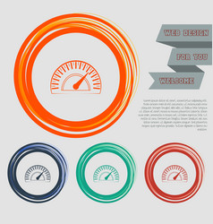speedometer icon on the red blue green orange vector image