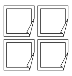 Square banner icons set outline style vector