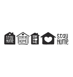stay home - hand drawn quote set vector image