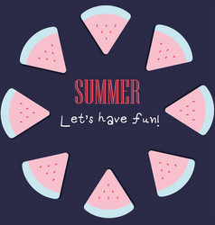 Summer holiday background with cute watermelon vector