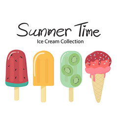 Summer time flat fruit ice cream popsicle vector