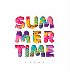 summer time multicolor quote in fun 3d paper cut vector image