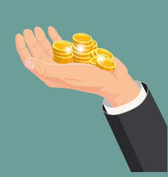 the hand that holds the gold coins gift cartoon vector image