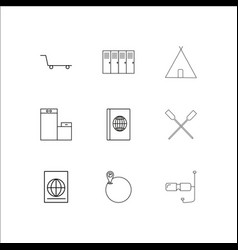 Travel and tourism linear outline icons set vector