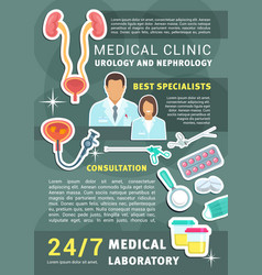 urology and nephrology medical clinic poster vector image