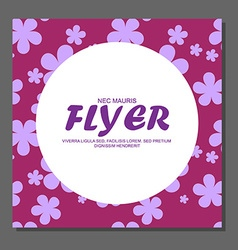 Violet flowers on a flyer Can be used as greeting vector image