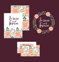 wedding cards template flowers ornament decoration vector image