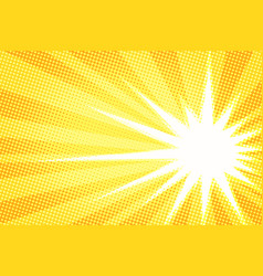 white sun yellow pop art background vector image