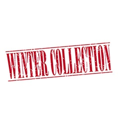 Winter collection red grunge vintage stamp vector