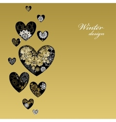 Winter love heart design with golden snowflakes vector image