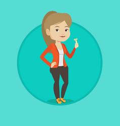 Woman holding razor in hand vector