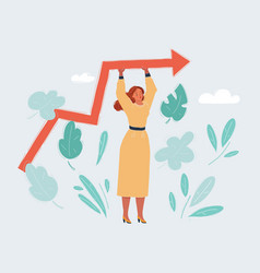 woman standin with growing chart vector image