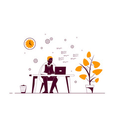 young black man working on computer in office vector image