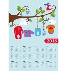 American calendar 2016 yearBaby boy fashion vector image vector image