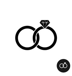 Wedding rings simple black icon Two crossed rings vector image