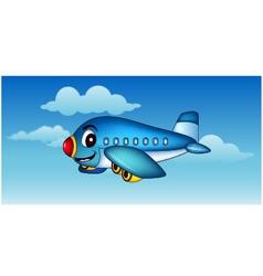cartoon airplane flying vector image vector image