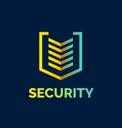 linear shield a symbol of security protection vector image