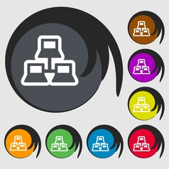 local area network icon sign Symbol on eight vector image vector image
