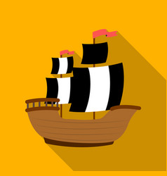 pirate ship icon in flat style isolated on white vector image vector image