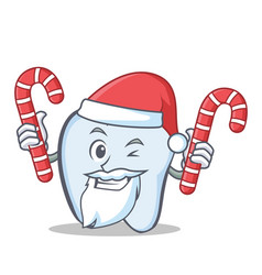 Santa tooth character cartoon style with candy vector