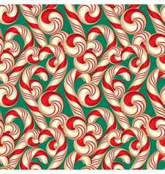 Seamless Pattern with Candy Canes Christmas vector image vector image