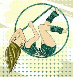 sexual women pole dance with aerial hoop vector image