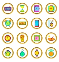 Time and clock set cartoon style vector