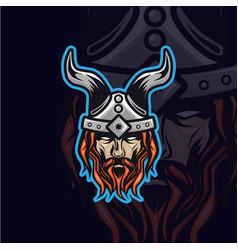 vikings head logo vector image