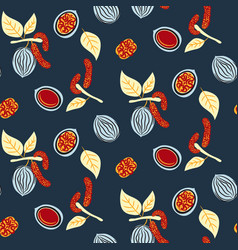 blue and red stylized walnut seamless vector image vector image