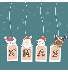 Christmas label with holidays greeting vector image