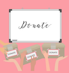 donation fundraiser hands holding box charity vector image