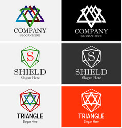abstract triangle logo set vector image vector image