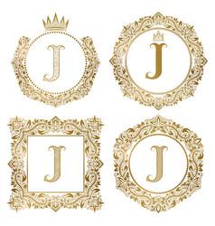 golden letter j vintage monograms set heraldic vector image vector image