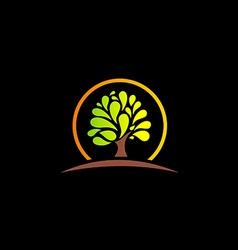 green tree abstract nature logo vector image vector image