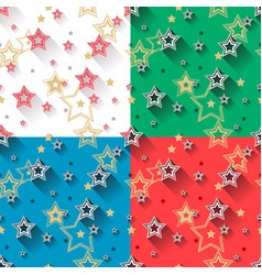star seamless patterns set vector image