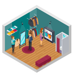 trying shop isometric interior concept vector image vector image