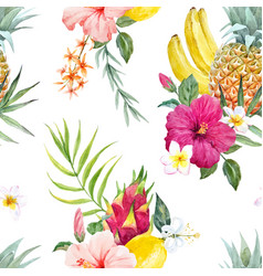Watercolor tropical pattern vector