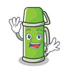 waving thermos character cartoon style vector image