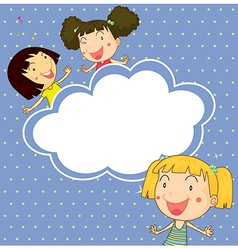 A stationery with three playful young girls vector image