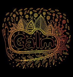art with mandala and calm gradient word doodle vector image