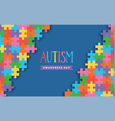 Autism awareness day colorful paper cut puzzle vector
