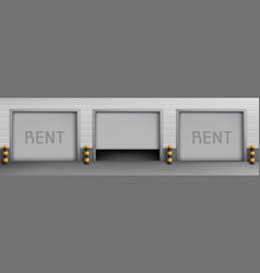 background with garage boxes for rent vector image