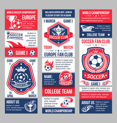 Banners for football soccer championship vector