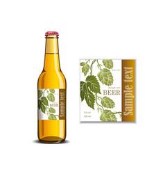 beer label on glass bottle mockup vector image