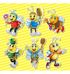 Bees and honey set vector image
