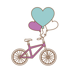 Bicycle with love hearts balloons air vector