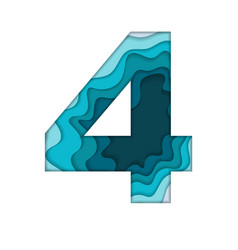 blue number four vector image