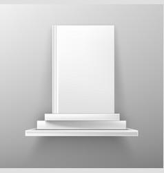 Books on white bookshelf bestseller cover mockup vector