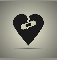 broken heart icon with patch vector image